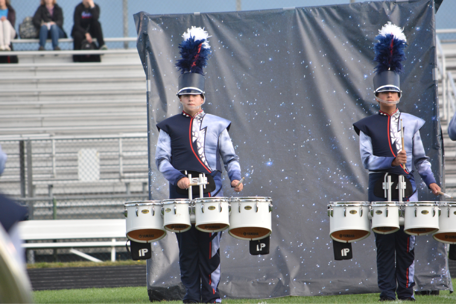 Juniors+Ryan+Secrist+%28left%29+and+Ethan+Malcolm+play+percussion+in+the+band%27s+performance+of+%22Pale+Blue+Dot%22+at+the+Shenandoah+Valley+Marching+Invitational.++