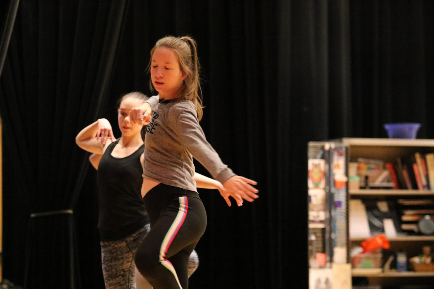 Senior Julia Lawton practices during her Dance Company class.