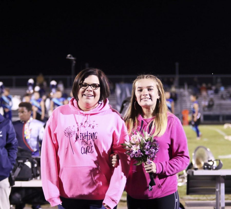 Sophomore Madison Koontz and her mother walk out together.