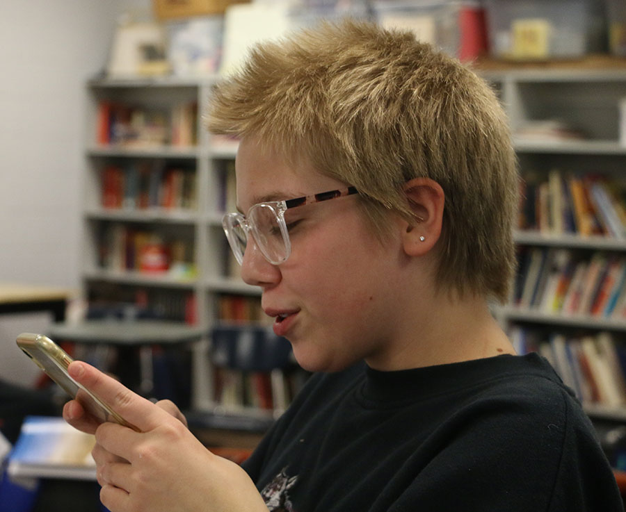 Freshman Ellie Peeks practices a monologue found online.