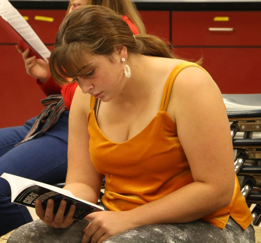Senior Faith Evans-Haywood goes over one of the many monologues she found.