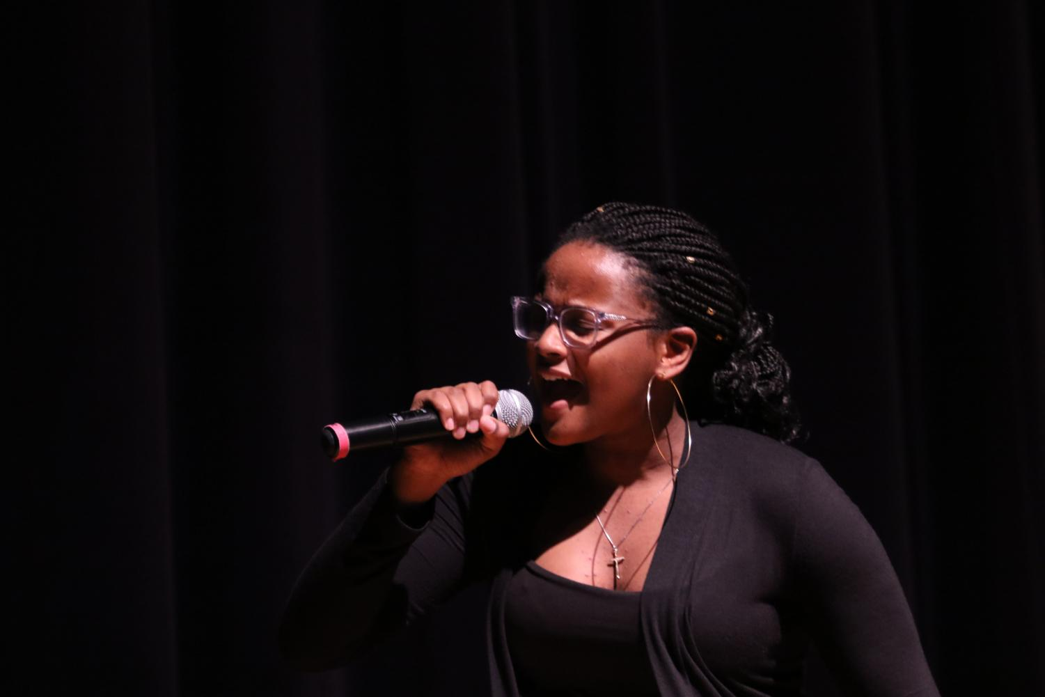 Junior Esther Manson sings V.S.O.P. by K. Mitchelle at the annual BSU Talent Show. The talent show also included dance and spoken word performances.
