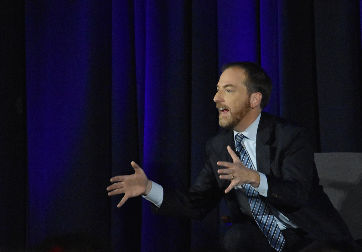 """Chuck Todd, moderator of NBC's """"Meet the Press"""" and on-air political analyst for both TODAY and Nightly News with Lester Holt, speaks during the keynote address at the JEA/NSPA Fall National High School Journalism Convention."""
