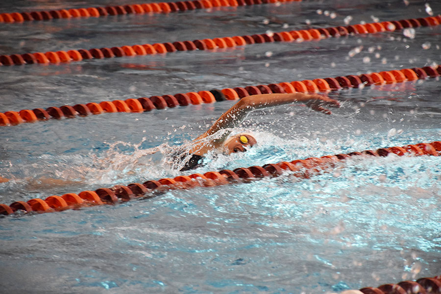 Junior Isabel Campillo swims the first leg of the 4x100 freestyle relay.