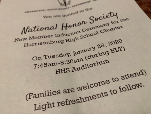 Students who were accepted into the NHS received an invitation to the induction ceremony  Jan. 28 where they will officially become members.