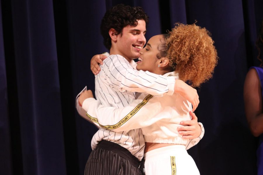 Senior Tatiana Machuca and junior Brandon Tamayo hug after being announced the winners of the talent show. They performed a mashup of hip-hop, pop, and other genres. Machuca and Tamayo were the BSU Talent Show winners last year as well.