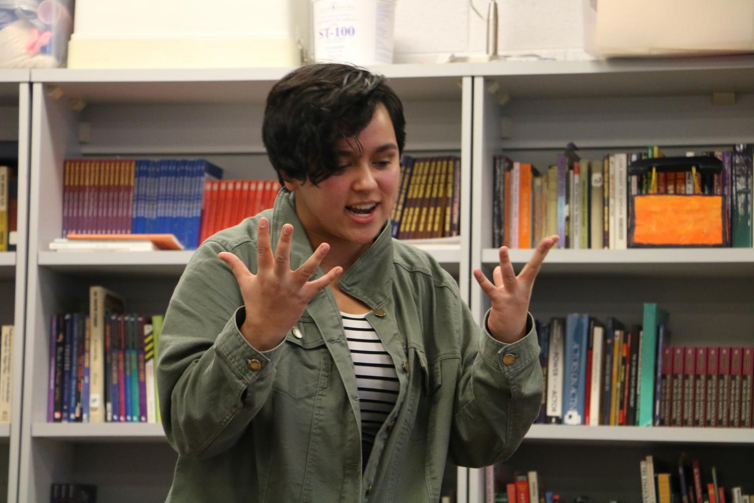 Freshman Nina Alabanza presents a portion of The Merchant of Venice at the Shakespeare competition Dec. 5 and took first place.