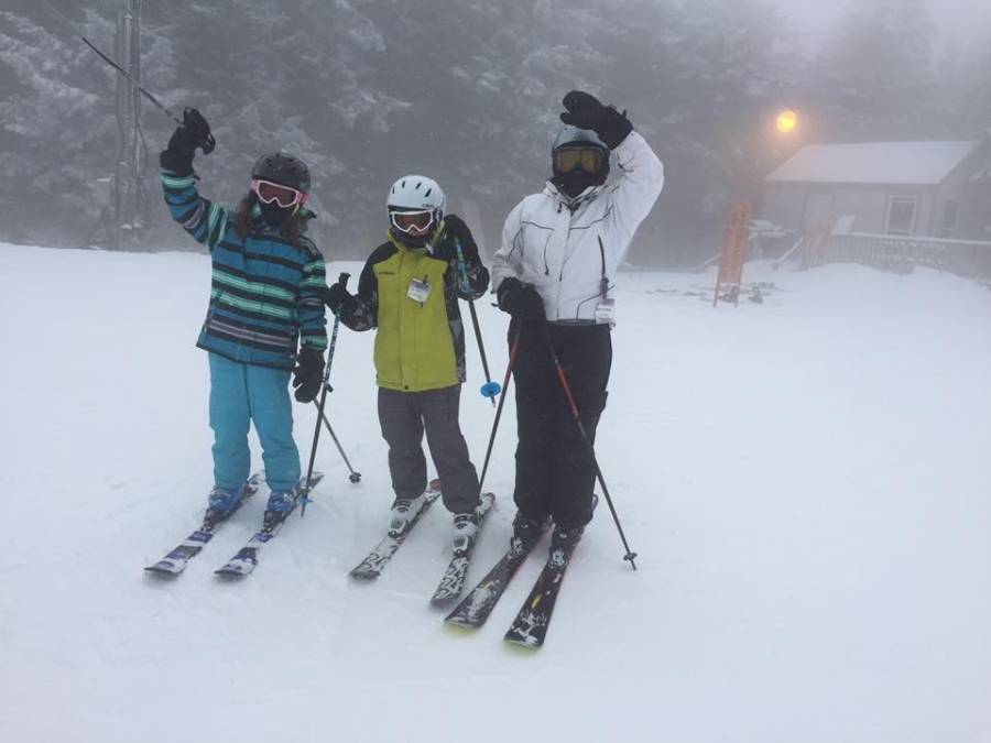 Freshman Lena Fulton-Wright's grandma, brother and herself pose with her family at a past ski trip.
