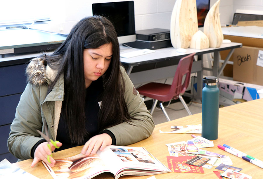 Sophomore Julia Mehegan looks for pieces for her collage in a magazine.