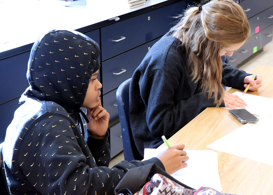 Sophomore Shamon Washington and Trainum work on drawings.
