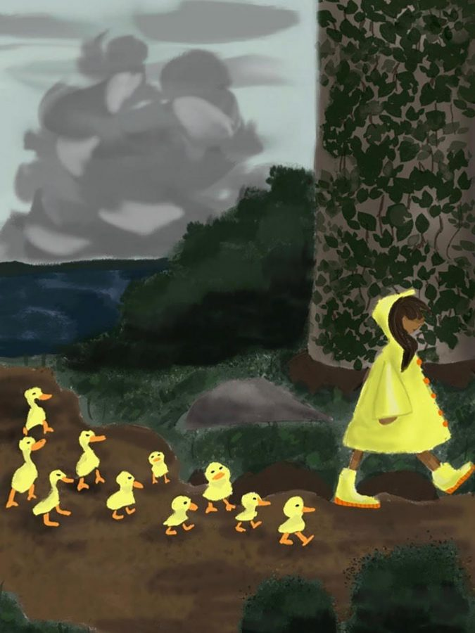 Senior Julia Rudd designed 10 Ducks and a girl in a computer graphics class for her VCU portfolio. The focus in the picture is the bright yellow contrasting with the dull background, Rudd said.