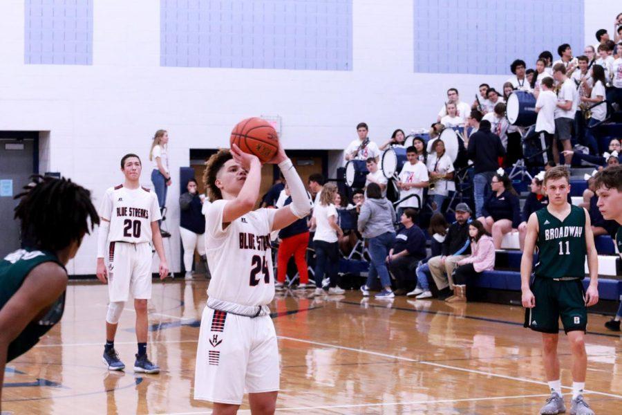 Eighth grader Kayden Hottle-Madden shoots a free throw.