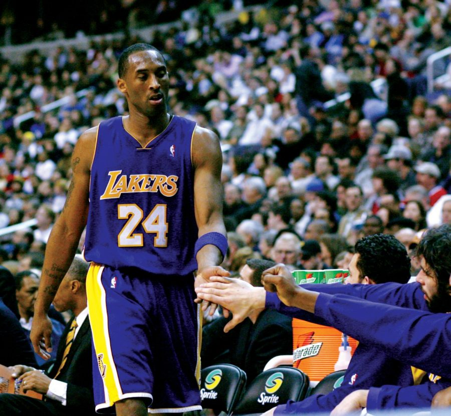 Kobe Bryant subs out of the game against the Washington Wizards on February 3rd, 2007.