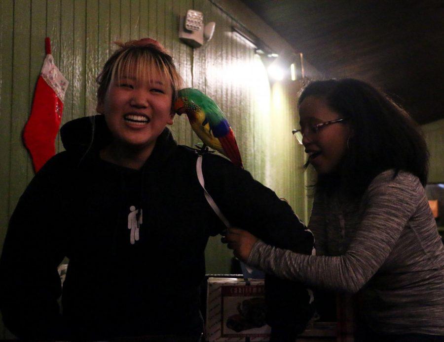 Yearbook editor junior Macy Swift and Newsstreak editor junior Dany Medhin laugh over a gag gift.