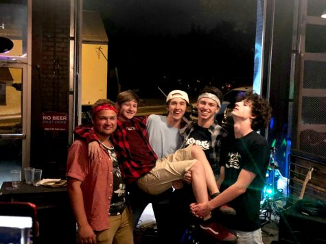 (From left to right) HHS alum Alex Osinkosky, sophomore Dylan Thompson, Spotswood senior Colin Gregory, sophomore Keenan Glago, and Spotswood senior Reece Wayland all stand together following their second show. The band played at Restless Moons brewery in June, 2019.