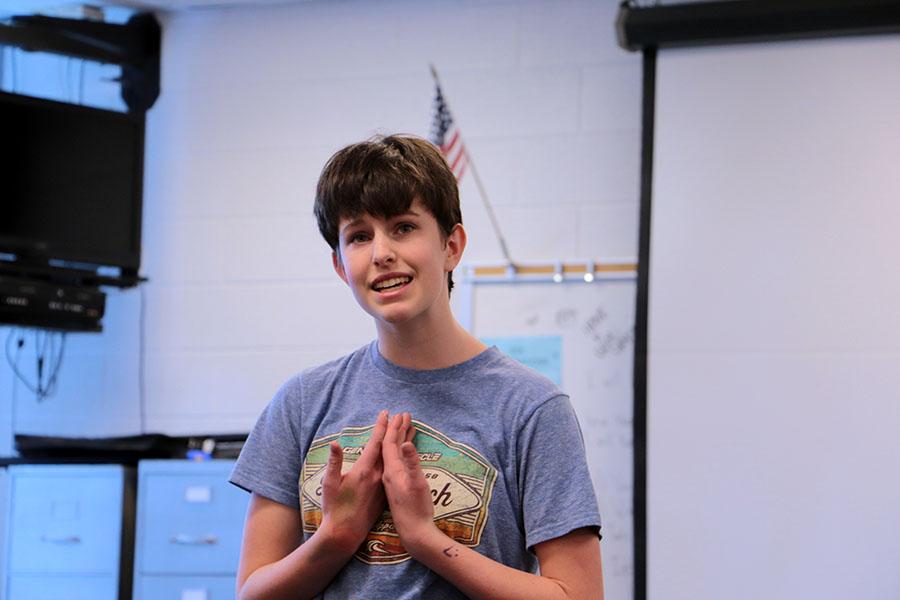 Freshman Amara Clancey recites her monologue for her audition.