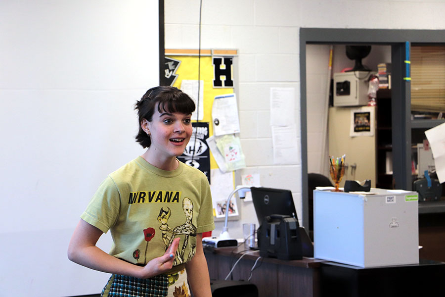 Freshman Azalea Twining performs her monologue for her audition for the spring play.