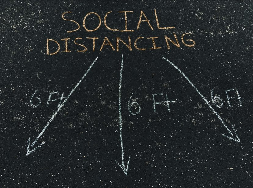 Social distancing, is the act of taking the effort to keep yourself away from other people with the hopes of slowing down the spread of a disease. The recommended distance is 6 feet apart.