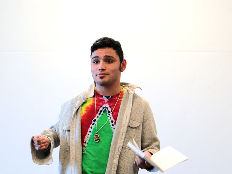 Senior Jason Tejeda-Molina performs his monologue.