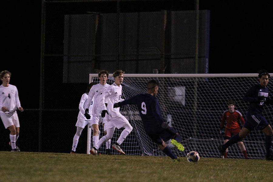 Senior Dlovan Hassan kicks the ball to make a goal.
