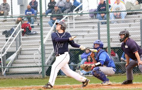 Senior Tristan Fink swings at a ball during Harrisonburg's game against Spotswood High School in the 2019 season. The streaks went on to win the game 7-4.
