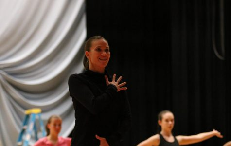 Dance teacher Amber Corriston works with students in her Dance Company class.