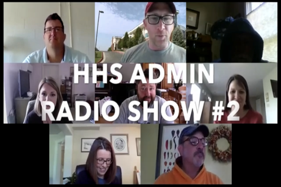 A screenshot of the intro to the HHS Admin's second podcast video.