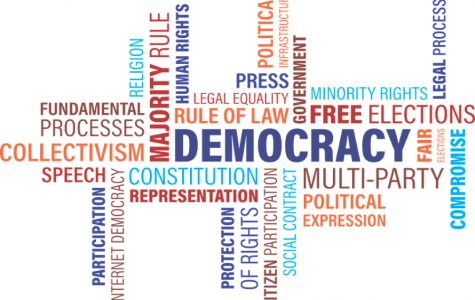 A word-cloud for the word democracy with different ideas that go along with it.