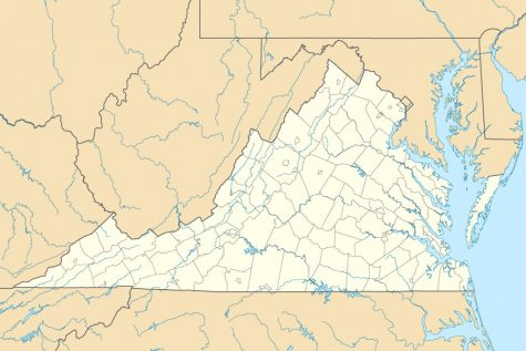 A map of the state of Virginia. Virginia