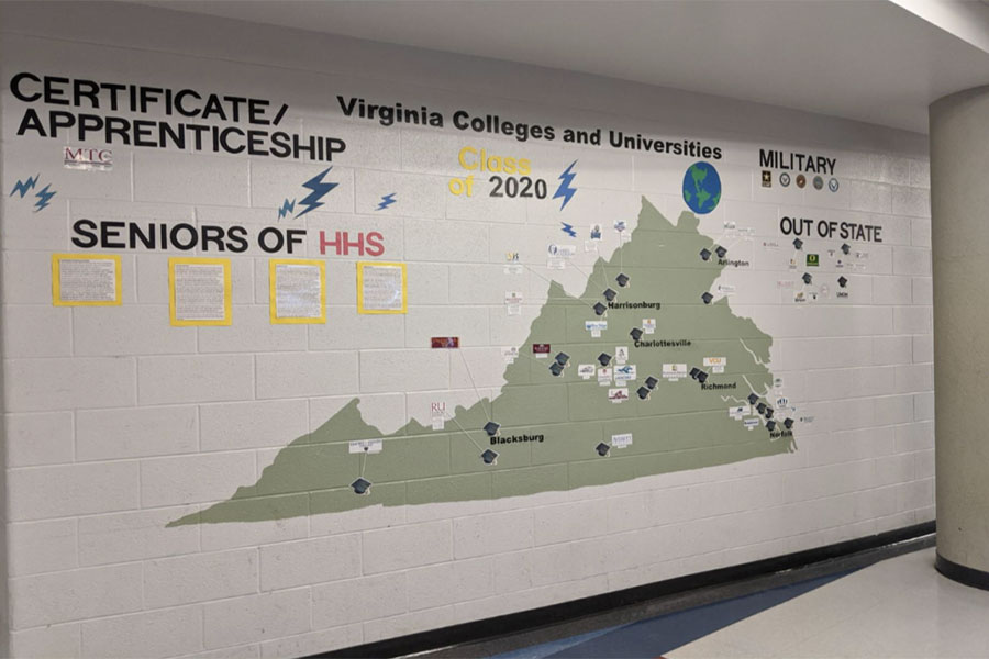 The Senior Wall at HHS. It is featured in front of the library and shows what paths seniors are going.