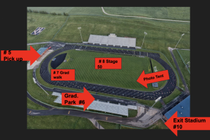 This aerial image of the HHS football field shows Stations 5-10 of the on-site graduation event.