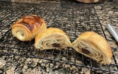 Traditional chocolate croissants have lots of distinct layers and chocolate running through the middle.