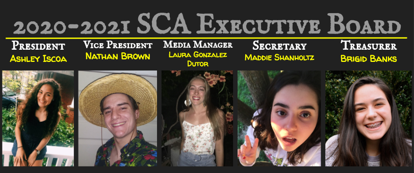 The announcement that SCA posted on social media to announce the SCA Executive Board for 2020-2021.