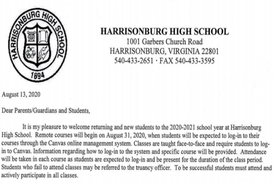 The introduction of the letter sent to all HHS students. The letter contained information the students need to know before the school year starts.