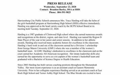 New head girls basketball coach, Tracy Harding, will begin leading the program for the 2020-21 season.