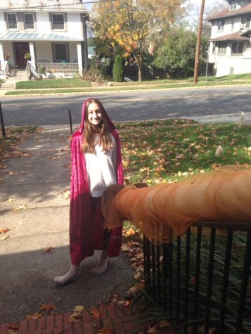 "Freshman Anna Campillo dressed as Little Red Riding Hood for Halloween. Campillo and her family created a tube to send candy to trick or treaters to stay safe. ""We passed out candy by making a candy slide that went down our rails. My favorite part was seeing the people who came out in costumes,"" Campillo said."