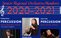 The three HHS Senior Regional Orchestra Members for the 2020-2021 year are seniors Ethan Malcolm and Ryan Secrist and freshman Cindy Liu.