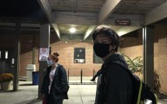 Gabriele wears his mask while waiting outside of Westover pool where he practices in the mornings.