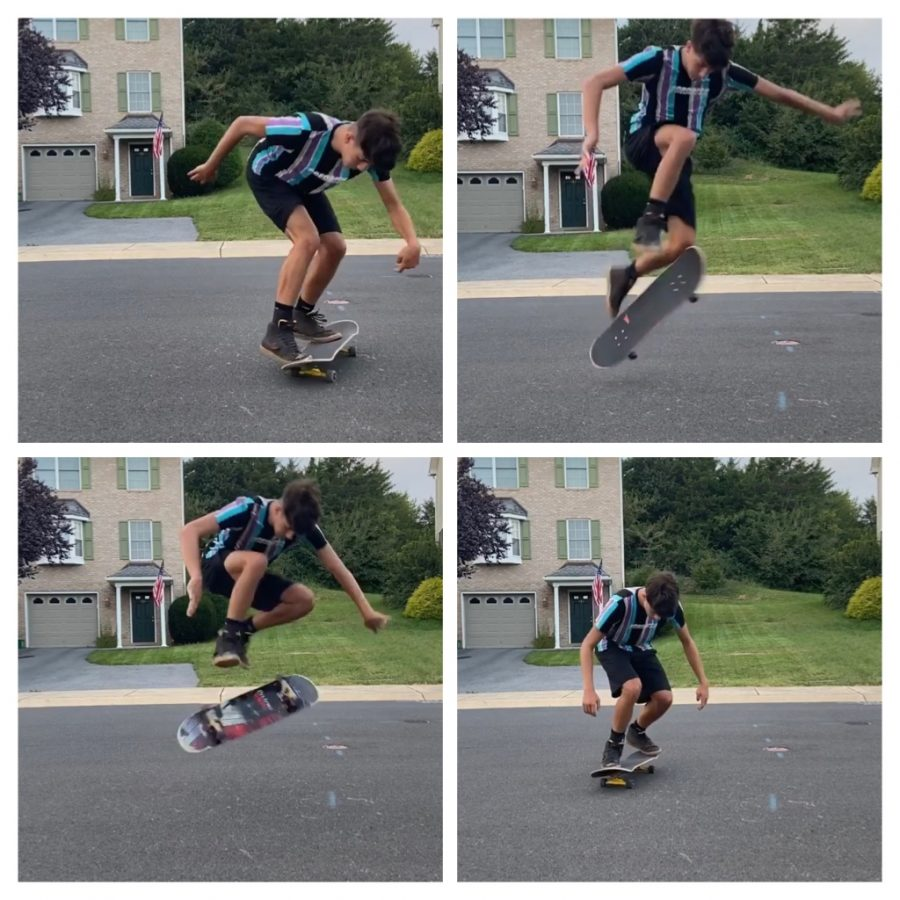 Junior Adrian Etchebarne skateboards and learns tricks in his free time.