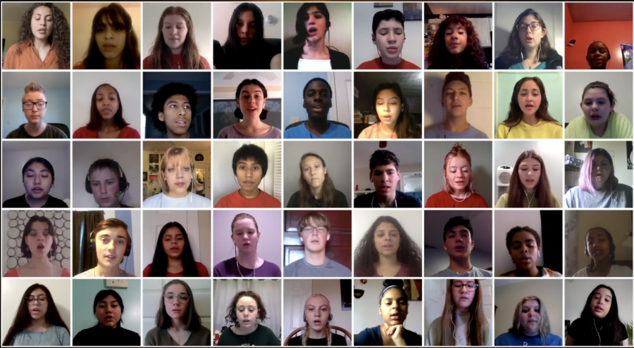 A screenshot of the edited video of all the choir students singing together.