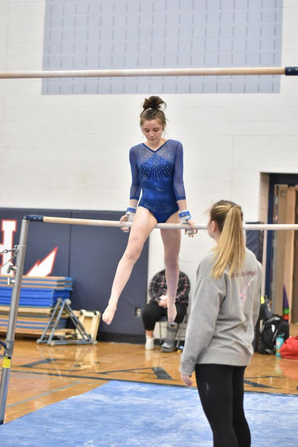 Healy competes in a home meet during her 202 season.