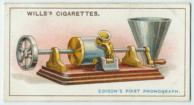 This is a drawing of Thomas Edison's first phonograph. The design of the phonograph has since changed.