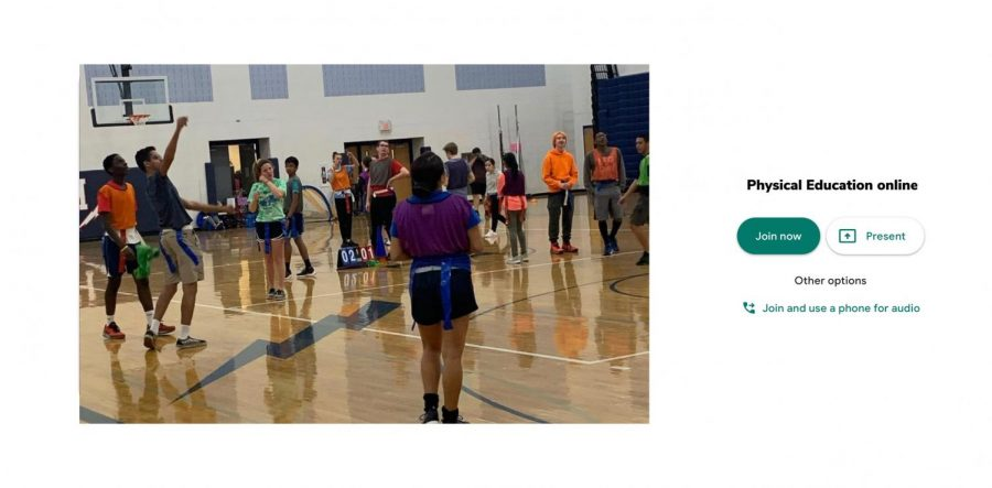 An example of physical education online with a picture of physical education in the beginning of 2020.