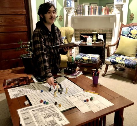 Chao plays Dungeons and Dragons virtually with his friends. In this photo he is the dungeon master.