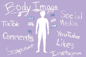 Silhouette of a body surrounded by constant pressures that social media makes.
