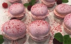 Yoder made these raspberry macarons in October. To win a free cake from Yoder, one can refer seniors to college adviser Anna Du. Whoever refers the most seniors by the end of February wins a free cake.
