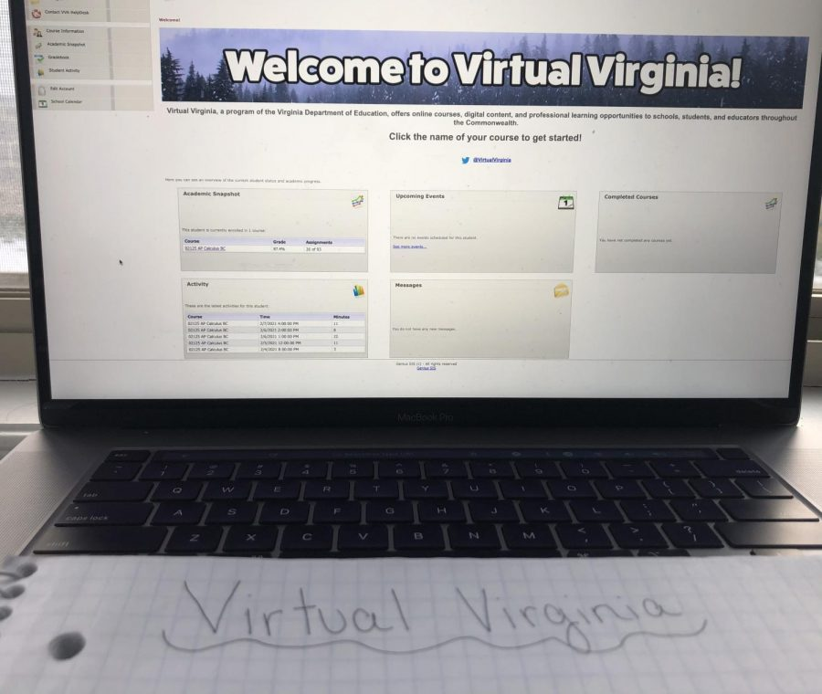 The student dashboard for Virtual Virginia courses. The dashboard shows the students' grades and their assignments.