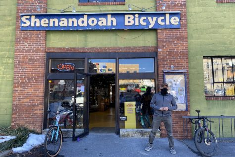 Manager Kevin Rogers stands outside Shenandoah Bicycle Company for a photo.