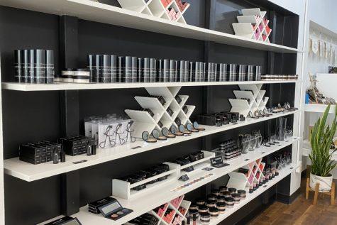 With Simplicity's makeup display.