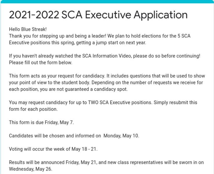 SCA+election+nominations+are+open+until+May+7%2C+voting+will+take+place+May+18-21+and+results+will+be+announced+May+21.